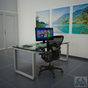 שולחן כתיבהזכוכית שקופהמחוסמת Rondo Glass – רגל כסופה