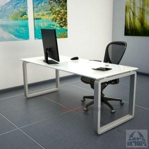 שולחן כתיבהזכוכית מחוסמת אקסטרה קליר בצבע לבן שלג  Rondo Glass – רגל כסופה