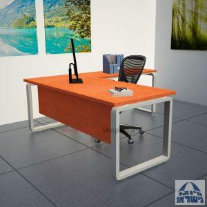 שולחן מזכירה יוקרתי דגם Rondo רגל כסופה ללא מגירות - מיסתור עץ