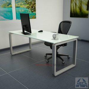 שולחן כתיבהזכוכית לבנהמחוסמת Rondo Glass – רגל כסופה
