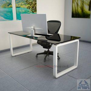 שולחן כתיבהזכוכית שחורהמחוסמת Rondo Glass – רגל לבנה
