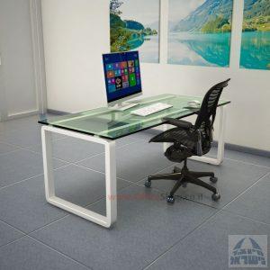 שולחן כתיבהזכוכית שקופהמחוסמת Rondo Glass – רגל לבנה