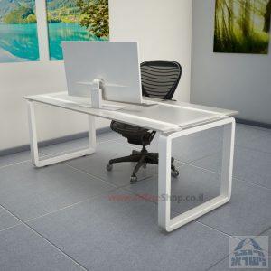 שולחן כתיבהזכוכית אקסטרה קליר חלבית צרובהומחוסמת Rondo Glass – רגל לבנה