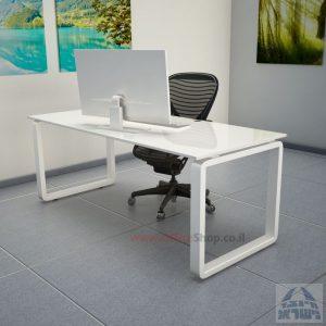 שולחן כתיבהזכוכית מחוסמת אקסטרה קליר בצבע לבן שלג  Rondo Glass – רגל לבנה