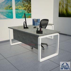 שולחן מזכירה יוקרתי דגם Rondo רגל לבנה ללא מגירות - מיסתור עץ