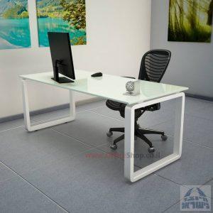 שולחן כתיבהזכוכית לבנהמחוסמת Rondo Glass – רגל לבנה