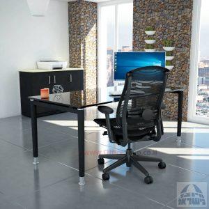 שולחן כתיבה זכוכית שחורה דגם Tomer Glass רגל שחורה