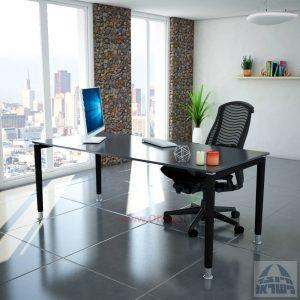 שולחן כתיבה זכוכית אפורה דגם Tomer Glass רגל שחורה