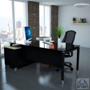 שולחן מנהלים פינתי Tomer Glass רגל שחורה + זכוכית שחורה