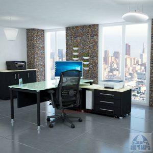 שולחן מנהלים פינתי Tomer Glass רגל שחורה + זכוכית לבנה