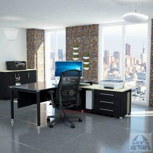 שולחן מנהלים פינתי Tomer Glass רגל שחורה + זכוכית אפורה