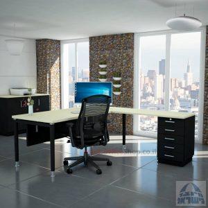 שולחן מזכירה יוקרתי Tomer - M5רגל שחורה - מיסתור מתכת