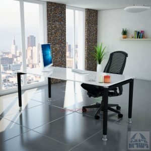 שולחן כתיבה זכוכית אקסטרה קליר בצבע לבן שלג דגם Tomer Glass רגל שחורה