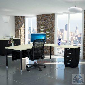 שולחן מזכירה יוקרתי Tomer - M5רגל שחורה - מיסתור עץ