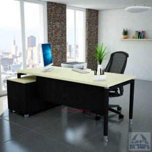 שולחן מנהלים פינתי Tomer רגל שחורה