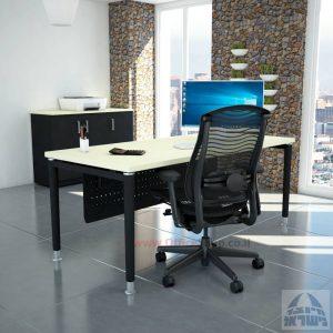 שולחן כתיבה יוקרתי  Tomer רגל שחורה כולל מיסתור מתכת