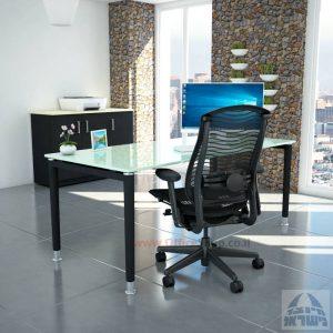 שולחן כתיבה זכוכית לבנה דגם Tomer Glass רגל שחורה