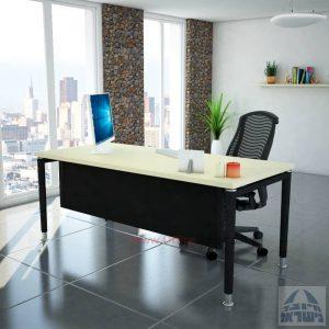 שולחן כתיבה יוקרתי  Tomer רגל שחורה כולל מיסתור עץ