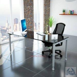 שולחן כתיבה זכוכית שחורה דגם Tomer Glass רגל כסופה