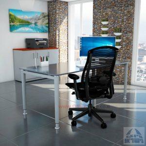 שולחן כתיבה זכוכית אפורה דגם Tomer Glass רגל כסופה