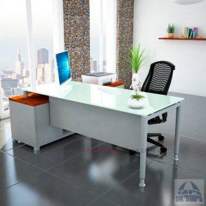 שולחן מנהלים פינתי Tomer Glass רגל כסופה + זכוכית לבנה