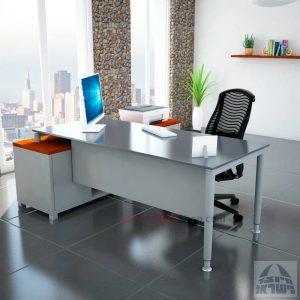 שולחן מנהלים פינתי Tomer Glass רגל כסופה + זכוכית אפורה