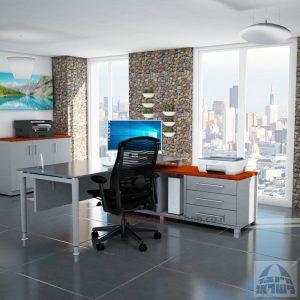 שולחן מנהלים פינתי 140X70 דגם  Tomer Glass פלטה זכוכית