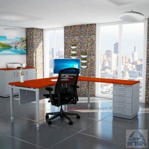 שולחן מזכירה יוקרתי Tomer - M5רגל כסופה - מיסתור עץ
