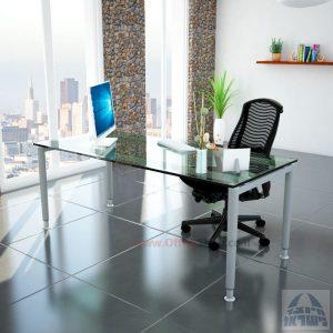 שולחן כתיבה זכוכית שקופה דגם Tomer Glass רגל כסופה