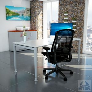 שולחן כתיבה זכוכית אקסטרה קליר חלבית צרובה דגם Tomer Glass רגל כסופה