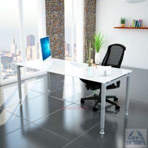שולחן כתיבה זכוכית מחוסמת אקסטרה קליר בצבע לבן שלג דגם Tomer Glassרגל כסופה Tomer