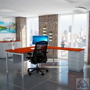 שולחן מזכירה יוקרתי Tomer - M5רגל כסופה - מיסתור מתכת