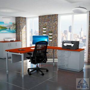 שולחן מזכירה יוקרתי Tomer - MD5 רגל כסופה - מיסתור עץ