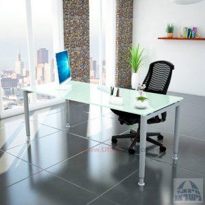שולחן כתיבה זכוכית לבנה דגם Tomer Glass רגל כסופה
