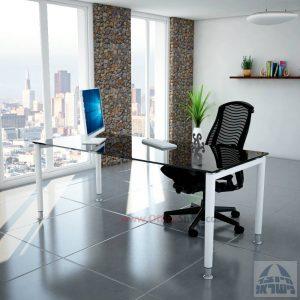 שולחן כתיבה זכוכית שחורה דגם Tomer Glass רגל לבנה