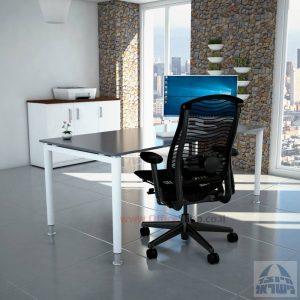 שולחן כתיבה זכוכית אפורה דגם Tomer Glass רגל לבנה