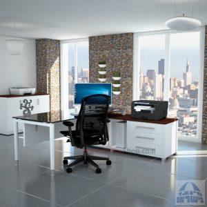 שולחן מנהלים פינתי Tomer Glass רגל לבנה + זכוכית שחורה