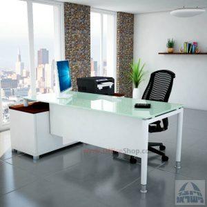 שולחן מנהלים פינתי Tomer Glass רגל לבנה + זכוכית לבנה