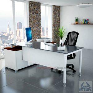 שולחן מנהלים פינתי Tomer Glass רגל לבנה + זכוכית אפורה