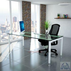 שולחן כתיבה זכוכית שקופה דגם Tomer Glass רגל לבנה