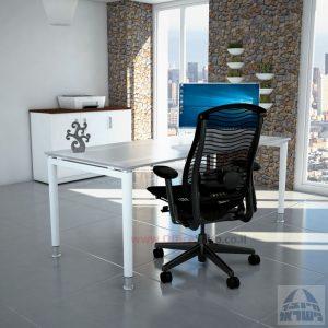 שולחן כתיבה זכוכית אקסטרה קליר חלבית צרובה דגם Tomer Glass רגל לבנה