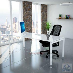 שולחן כתיבה זכוכית אקסטרה קליר בצבע לבן שלג דגם Tomer Glass רגל לבנה