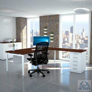 שולחן מזכירה יוקרתי Tomer - M5רגל לבנה - מיסתור מתכת