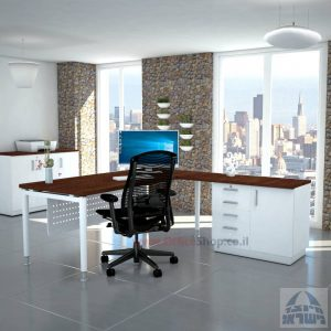 שולחן מזכירה יוקרתי Tomer - MD5 רגל לבנה - מיסתור מתכת