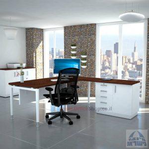 שולחן מזכירה יוקרתי Tomer - MD5 רגל לבנה - מיסתור עץ