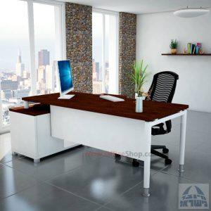 שולחן מנהלים פינתי Tomer רגל לבנה