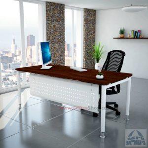שולחן כתיבה יוקרתי  Tomer רגל לבנה כולל מיסתור מתכת
