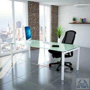 שולחן כתיבה זכוכית לבנה דגם Tomer Glass רגל לבנה