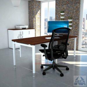 שולחן כתיבה יוקרתי  Tomer רגל לבנה כולל מיסתור עץ