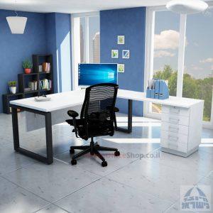 שולחן מזכירה יוקרתי דגם 5M –Windowרגל שחורה - מיסתור עץ